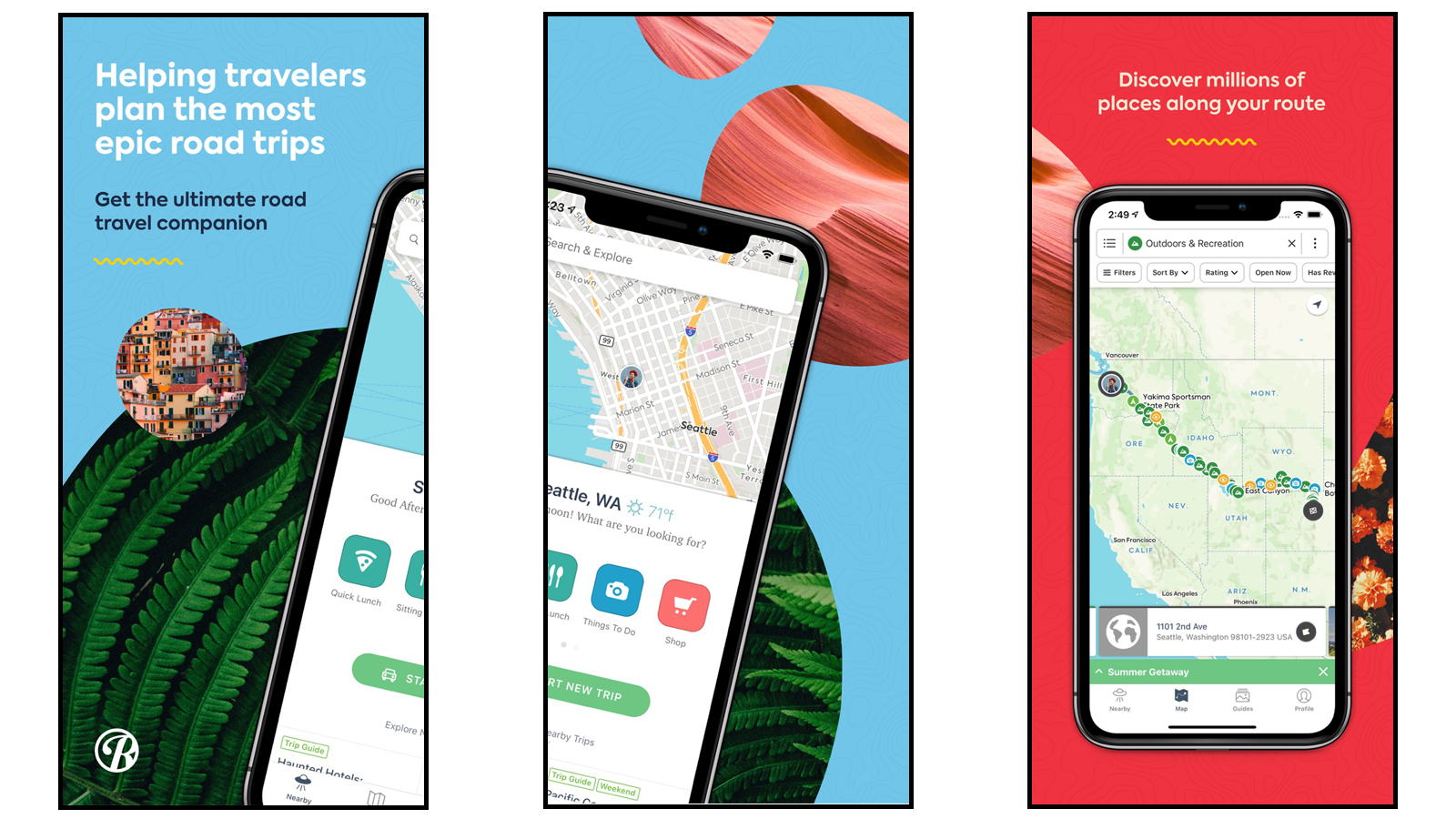 App pages showing road trip planning, waypoints, stop options, and maps