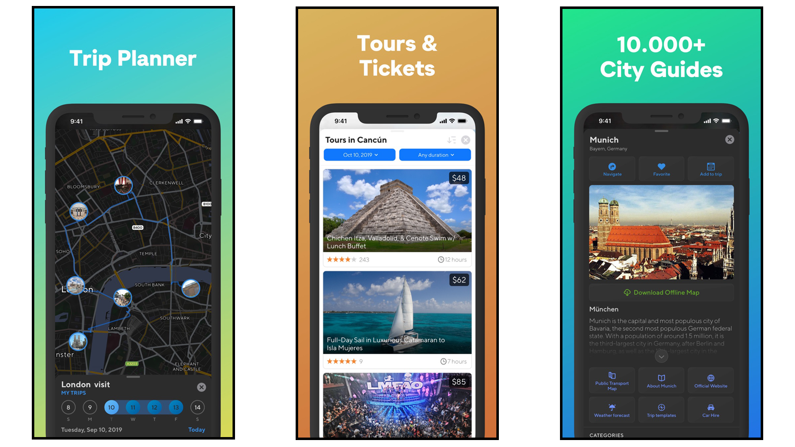 Sygic Travel Trip Planner with options to seeing and buying tickets for hotels, flights, transportation, tours, and other fun activities