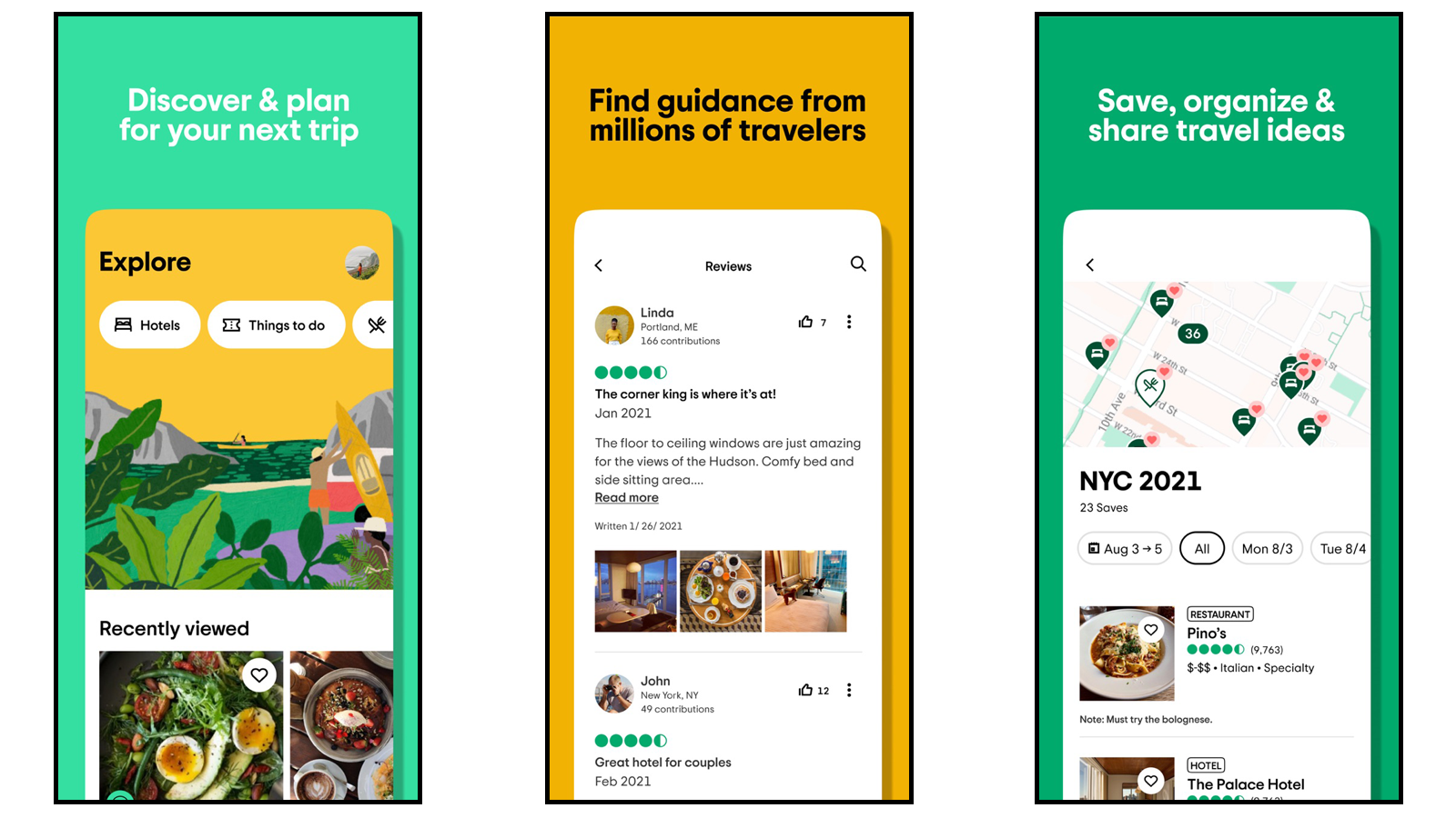 Tripadvisor app pages showing explore tab, traveler forums, and trip organizer