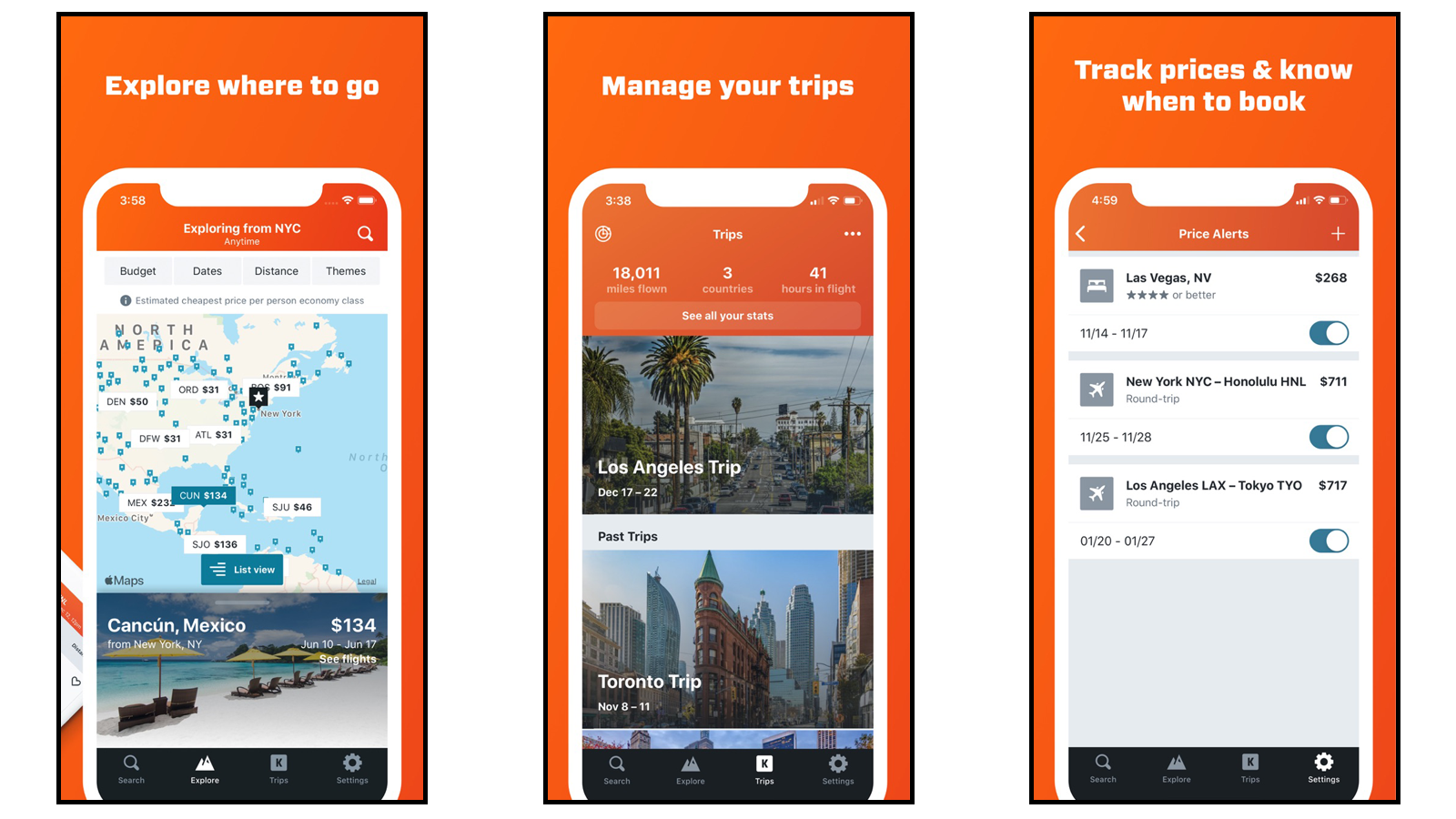 Kayak app pages showing explore tab, trip management features, and price tracking