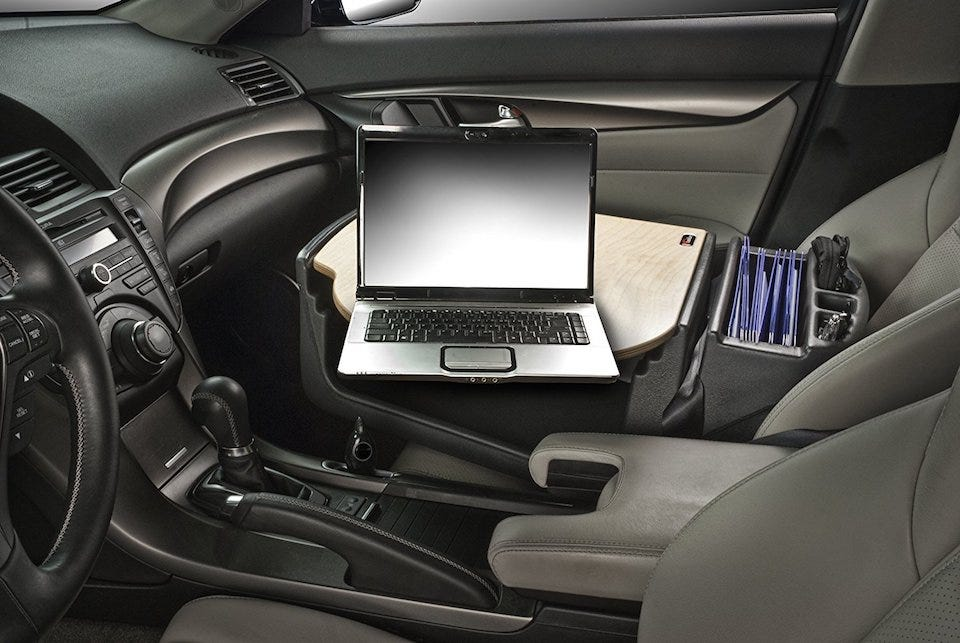 For The Regular Car Worker AutoExec RoadMaster Desk Is Ultimate Solution Its Designed To Fit Snugly On Your Passenger Seat Attaching Via