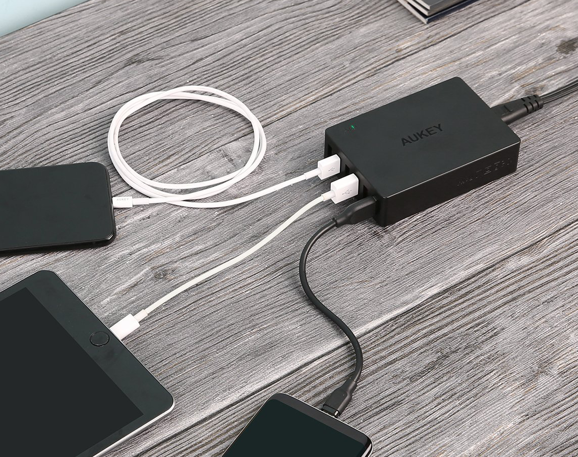 aukey, usb charger, multi charger, quick charge, six ports,