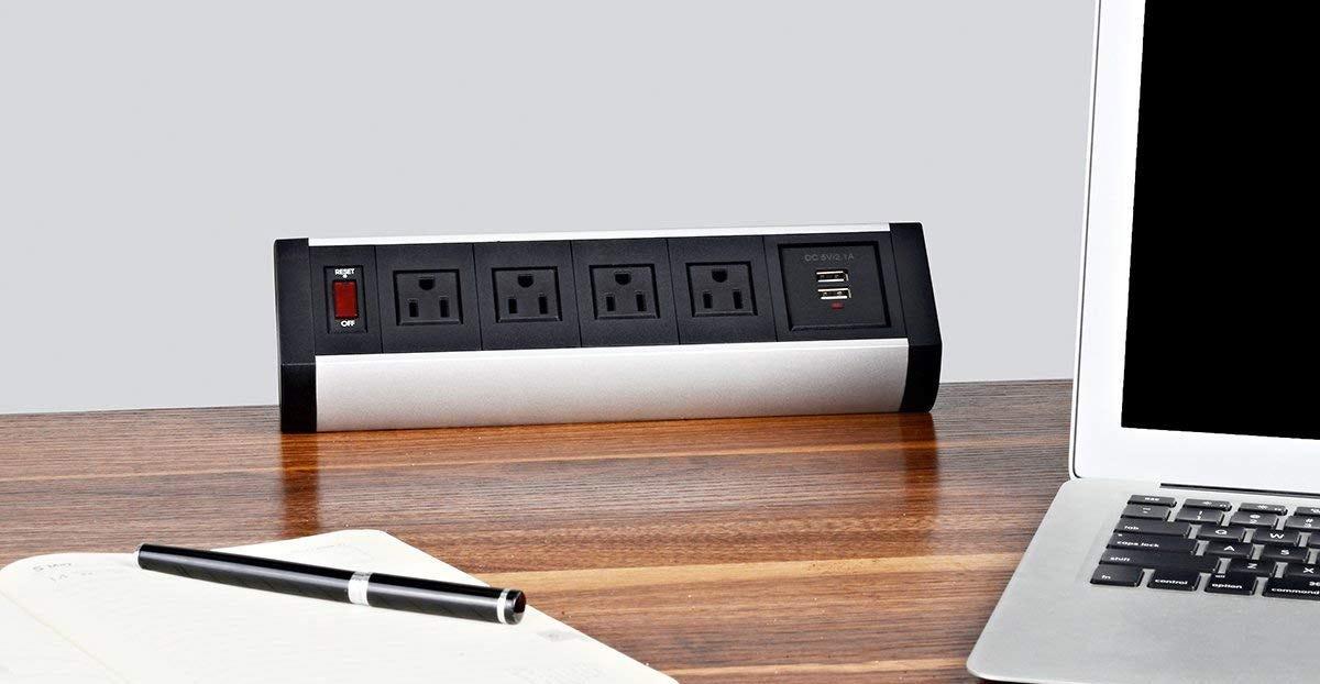 desk power strip, power strip, clamp, desktop,