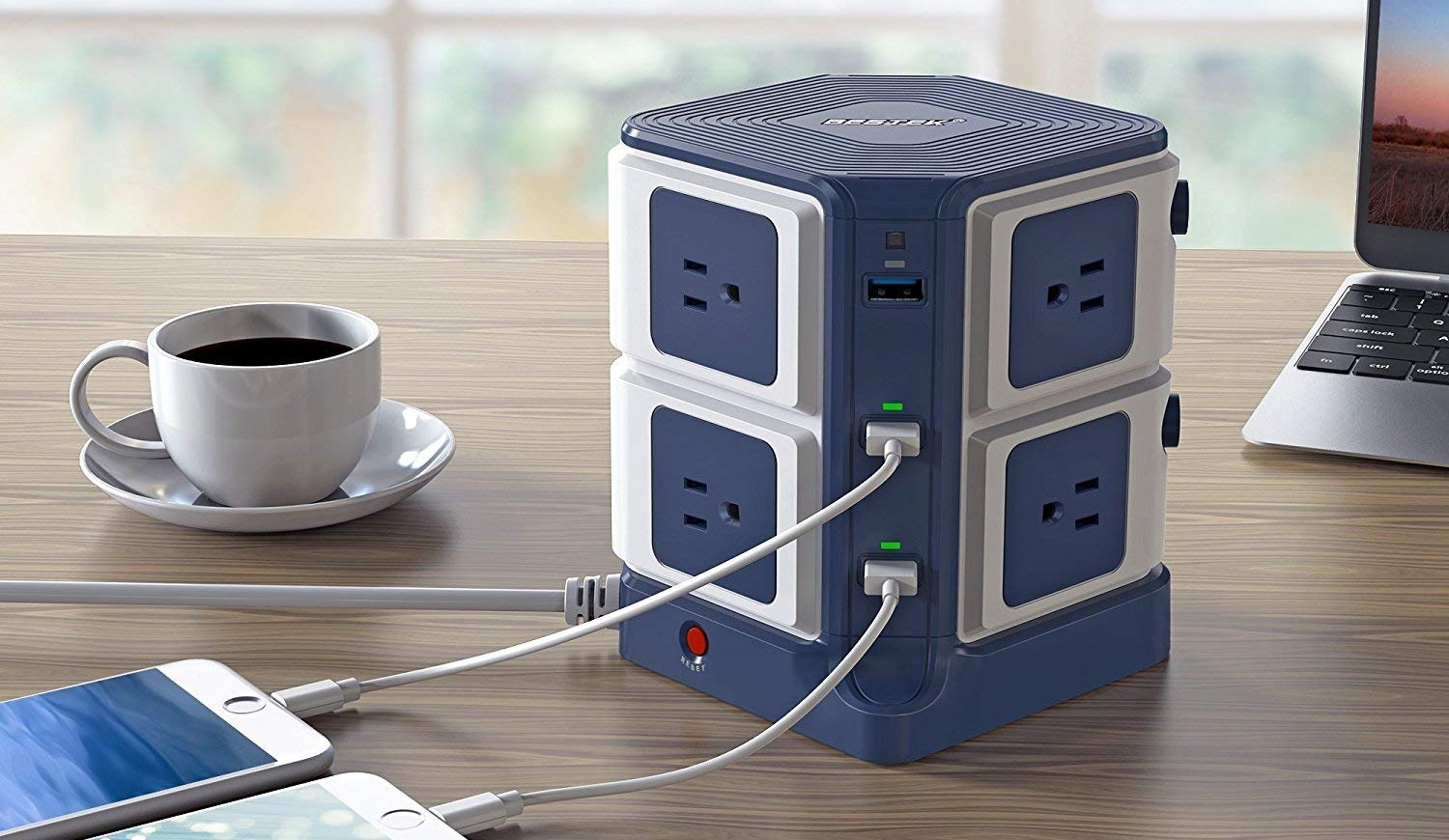 bestek, charging tower, surge protector, outlets, usb power,