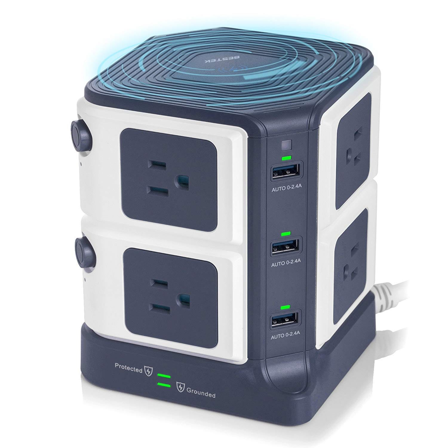 bestek, charging tower, wireless charging, usb, outlet,