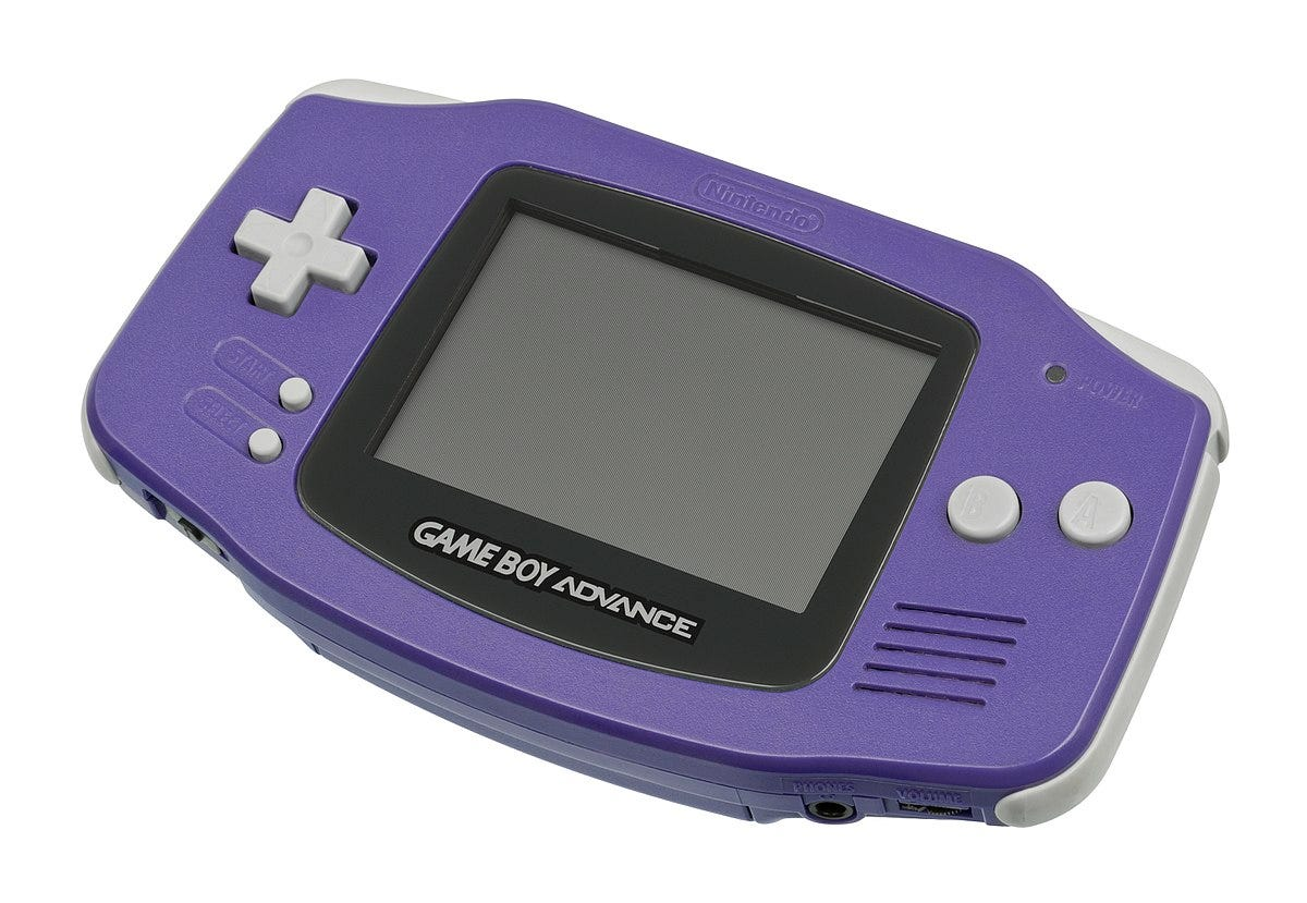 game boy advance, original, purple,