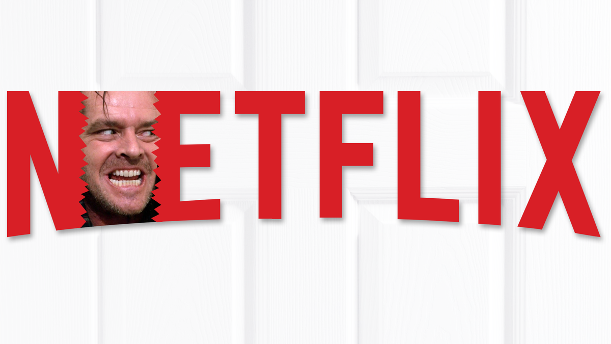 "A Netflix logo with Jack Nicholson's scary ""Here's Jonny!"" face."