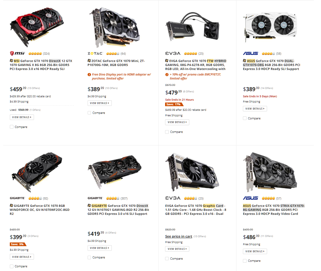 newegg, graphics card, gpu, search results,