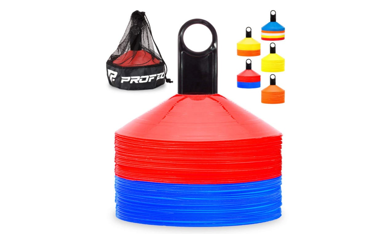 colorful agility cones stacked on a carrier