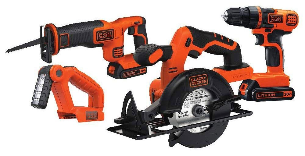 black and decker, tool kit, power tools, drill, circular saw, jigsaw, reciprocating saw, work light, 20v