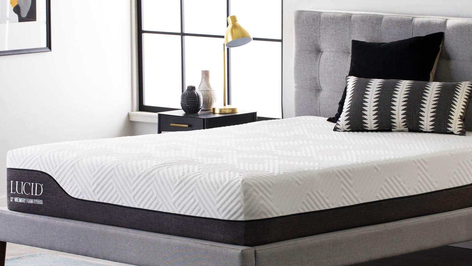 Lucid mattress on a grey foundation and headboard