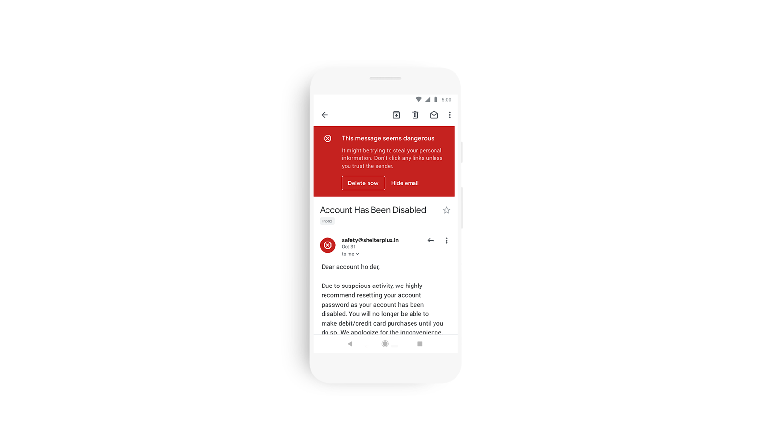 Gmail alerting of a phishing scam