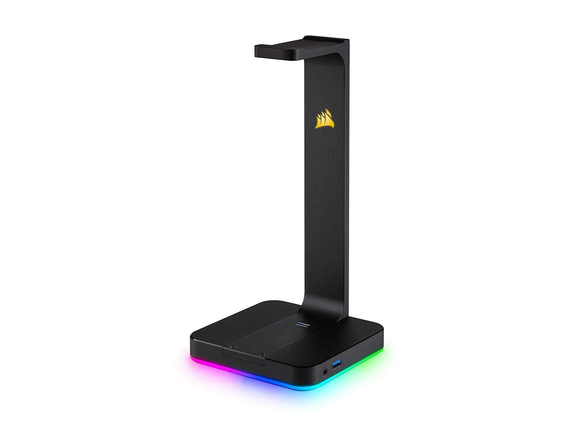 Corsair RGB headphone stand with audio and USB ports