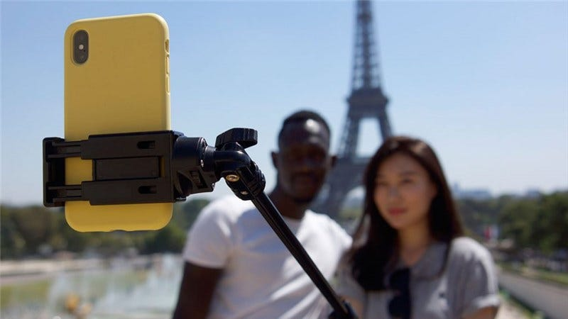 A couple taking a selfie