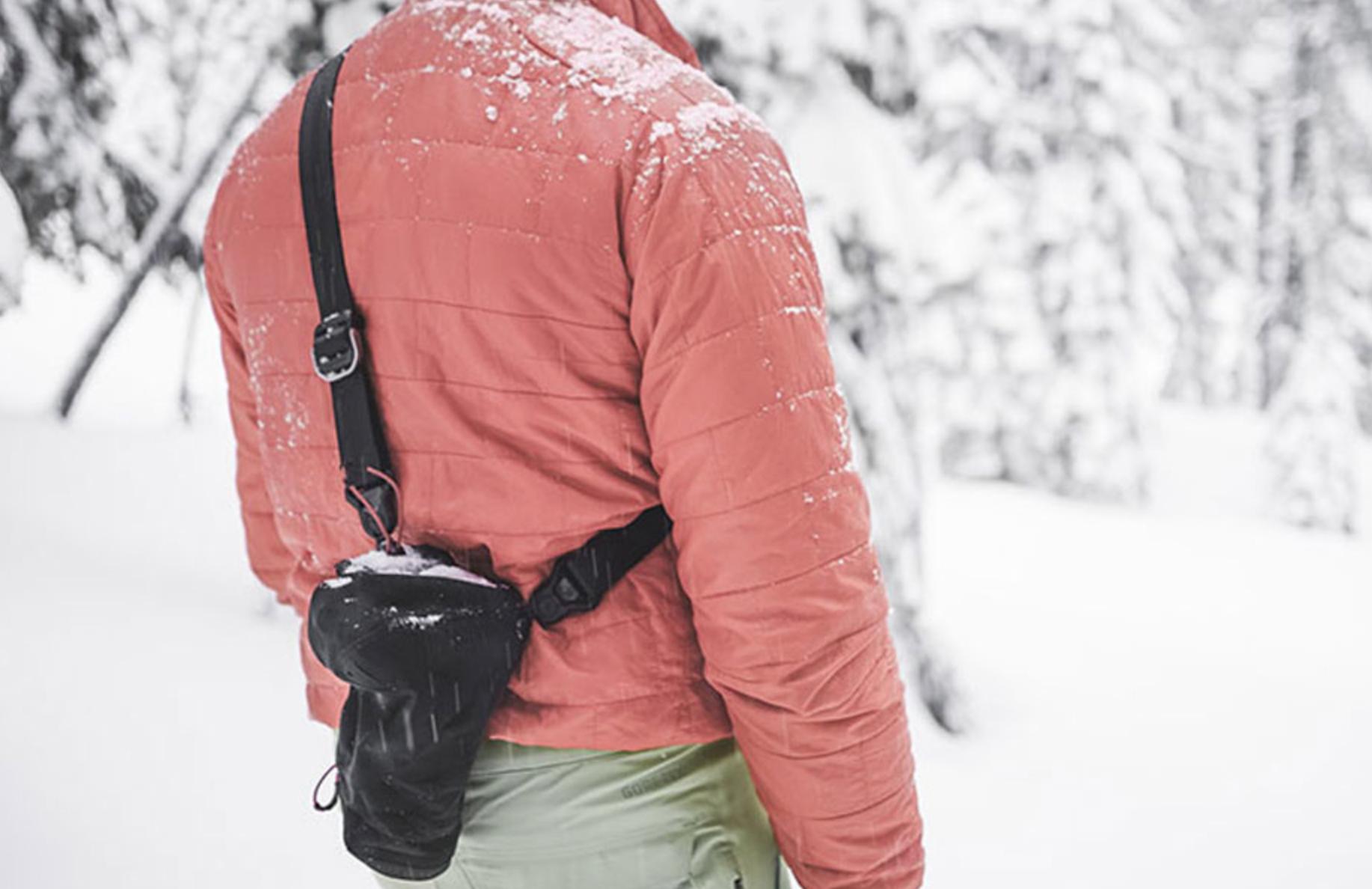 man wearing Peak Design camera bag