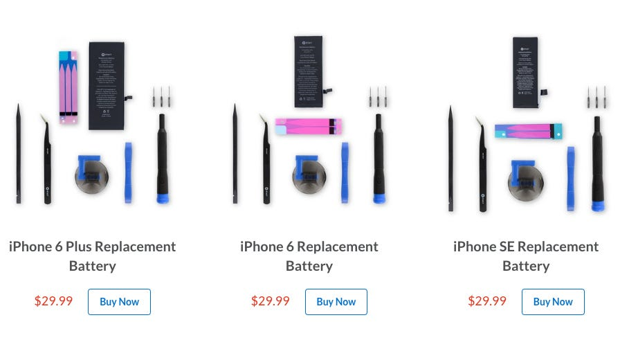 iFixit battery replacement kits for iPhone