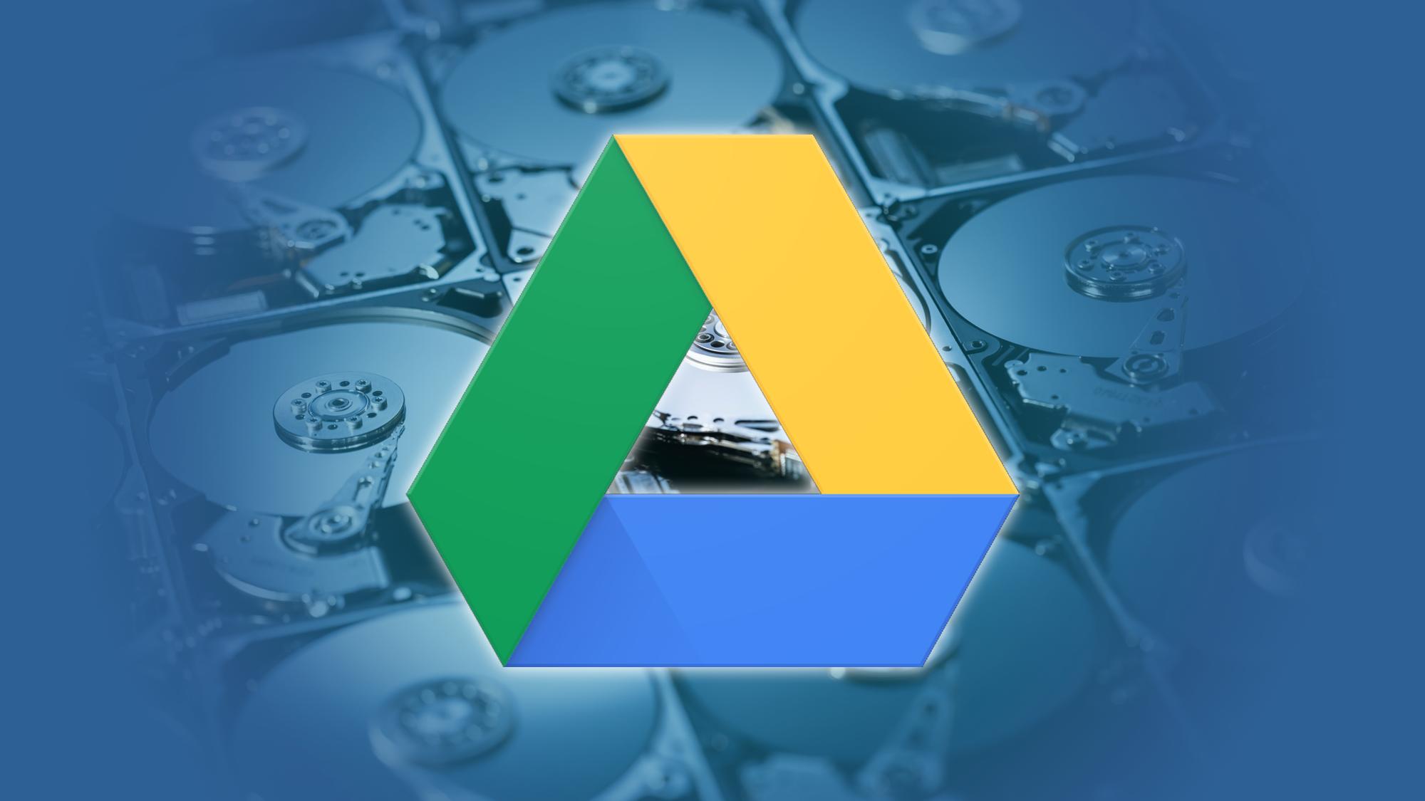 Google Drive logo over hard drives---article header image.