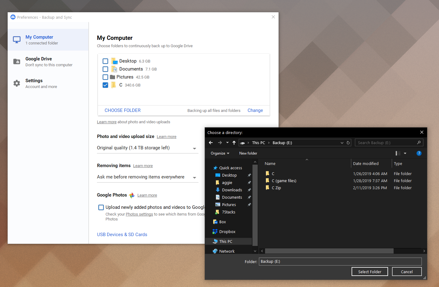 A look at Google Drive's Windows settings interface.
