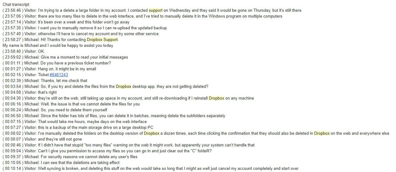 A transcript from Dropbox support. It doesn't get any better after this.