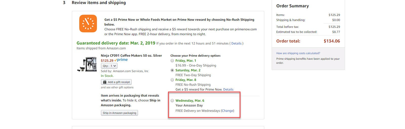 Amazon Checkout shipping options with Preferred Day call out