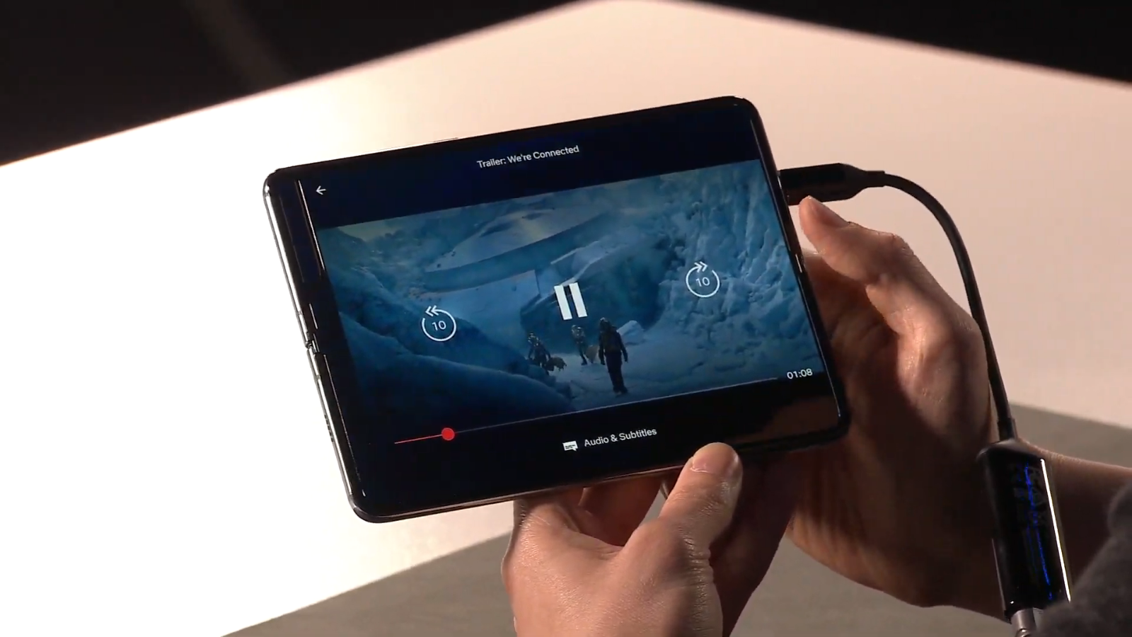 Netflix on the interior screen of the Galaxy Fold.