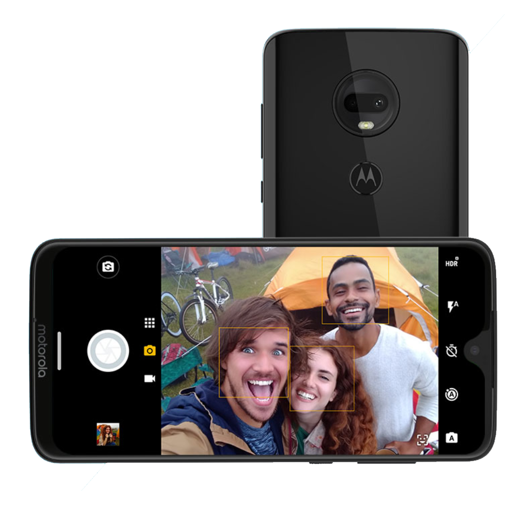 The Motorola G7. Note the teardrop notch and dual rear cameras.