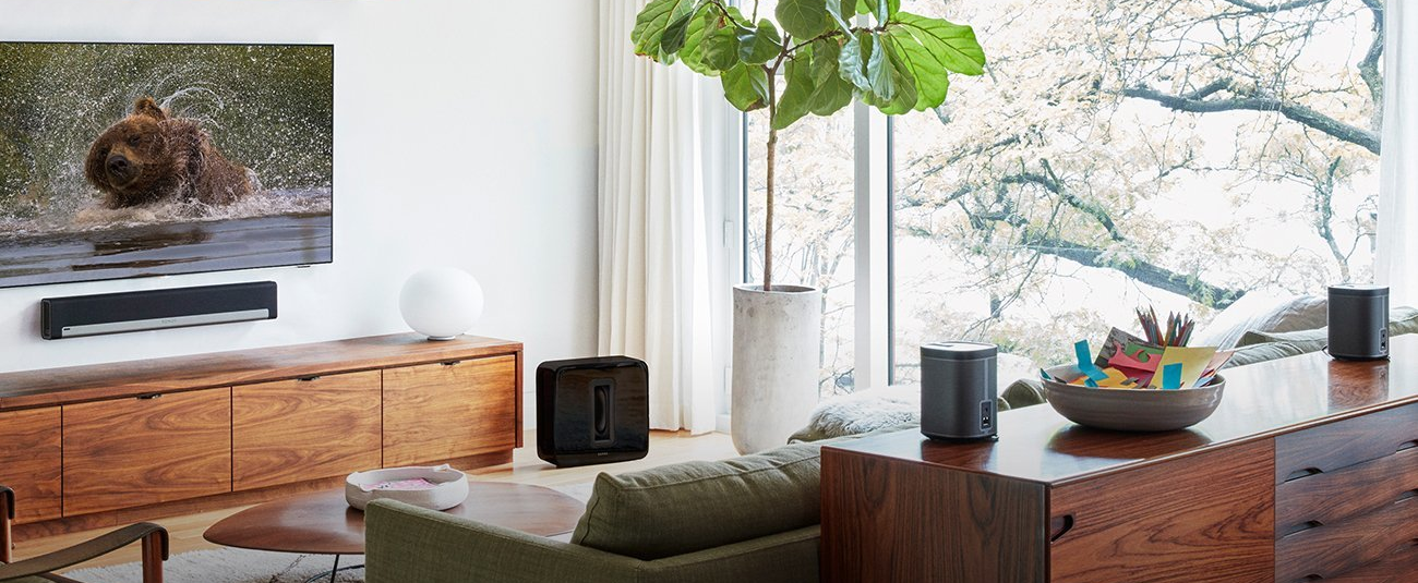 Sonos speakers combined to make a surround setup.