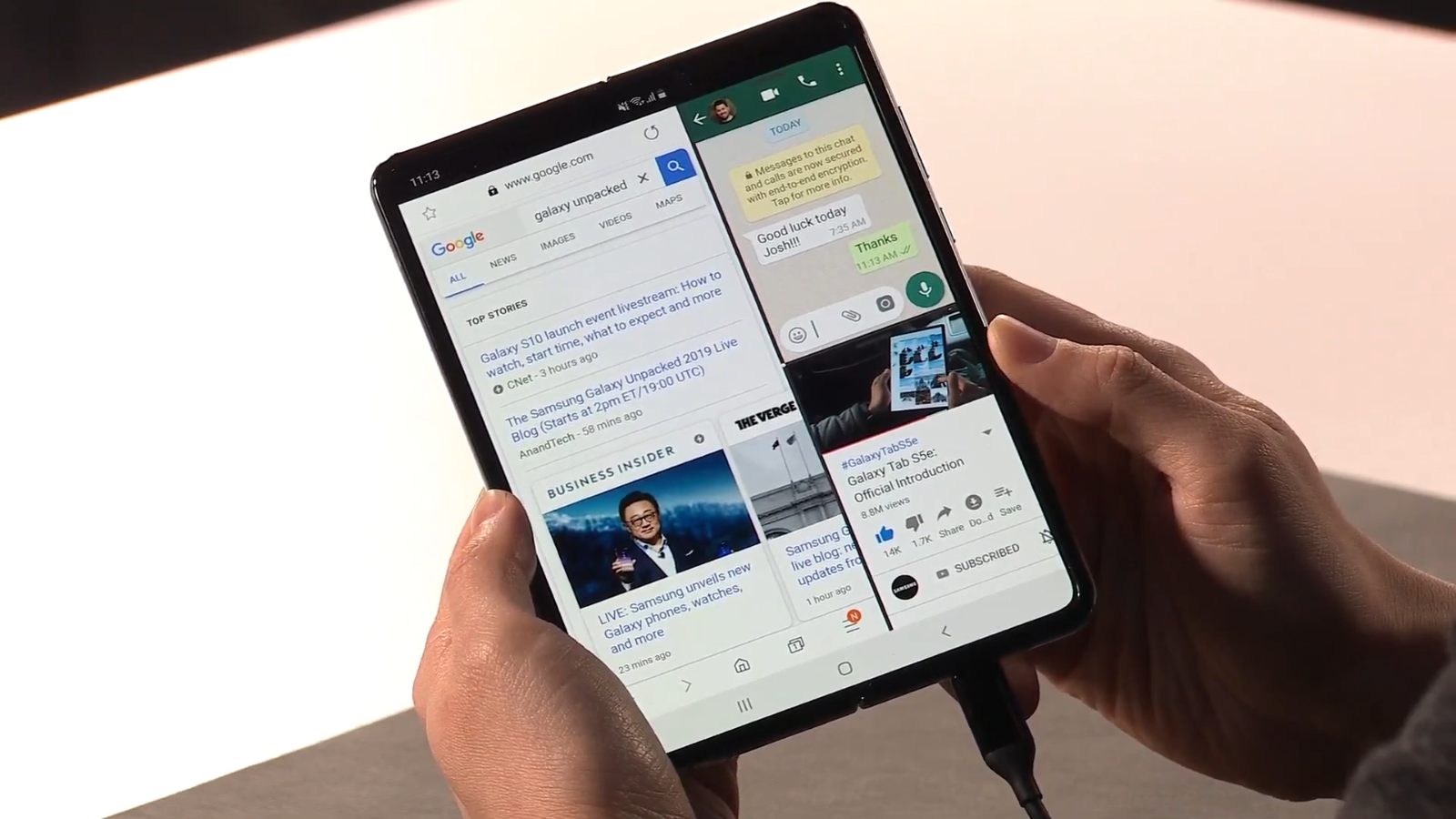 Samsung shows off three apps running at once on the Galaxy Fold