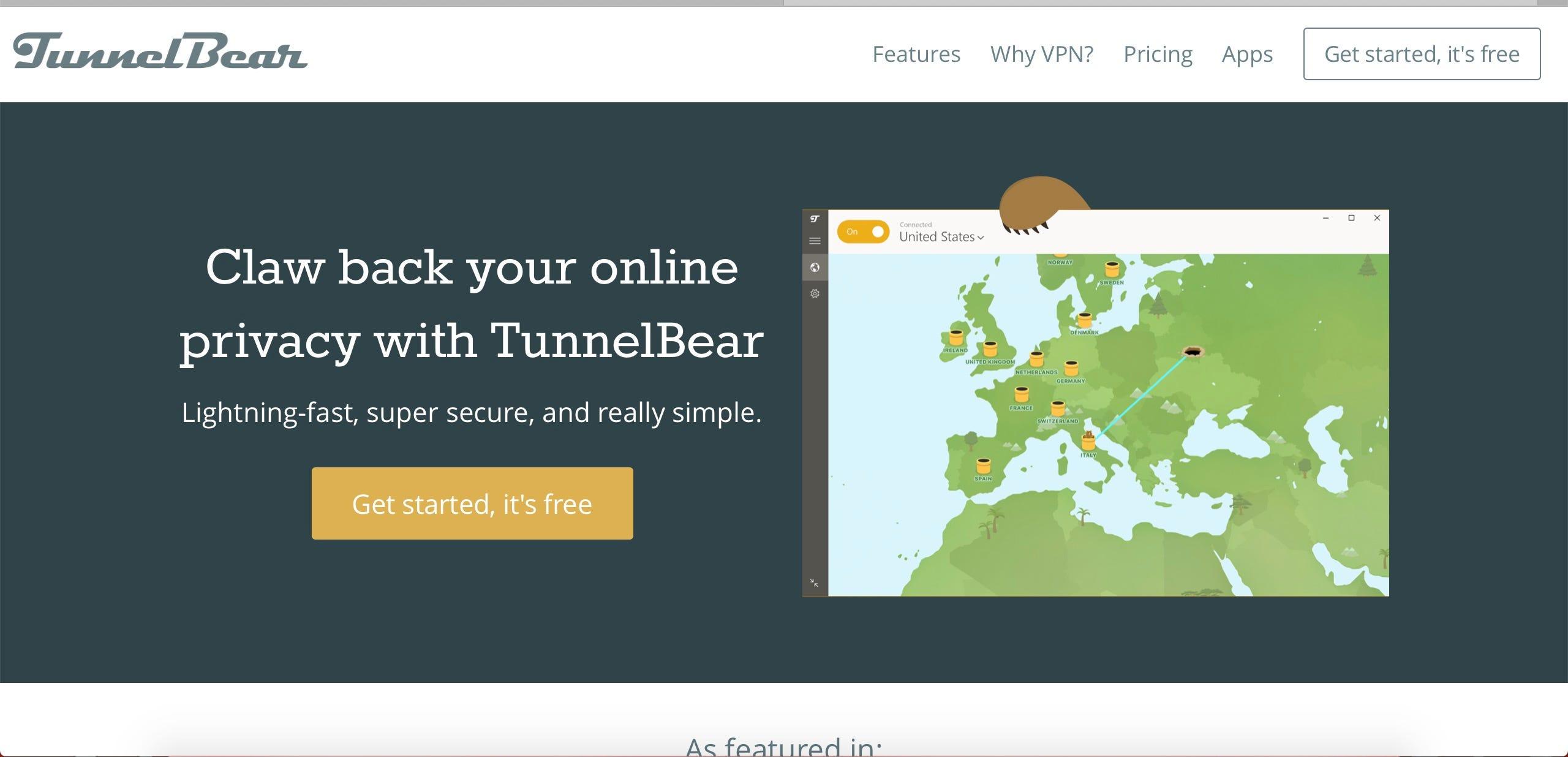 TunnelBear site