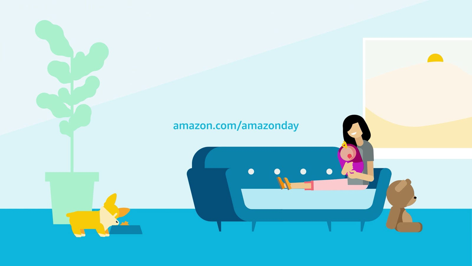 Amazon Day Graphic with Woman Sitting on Couch