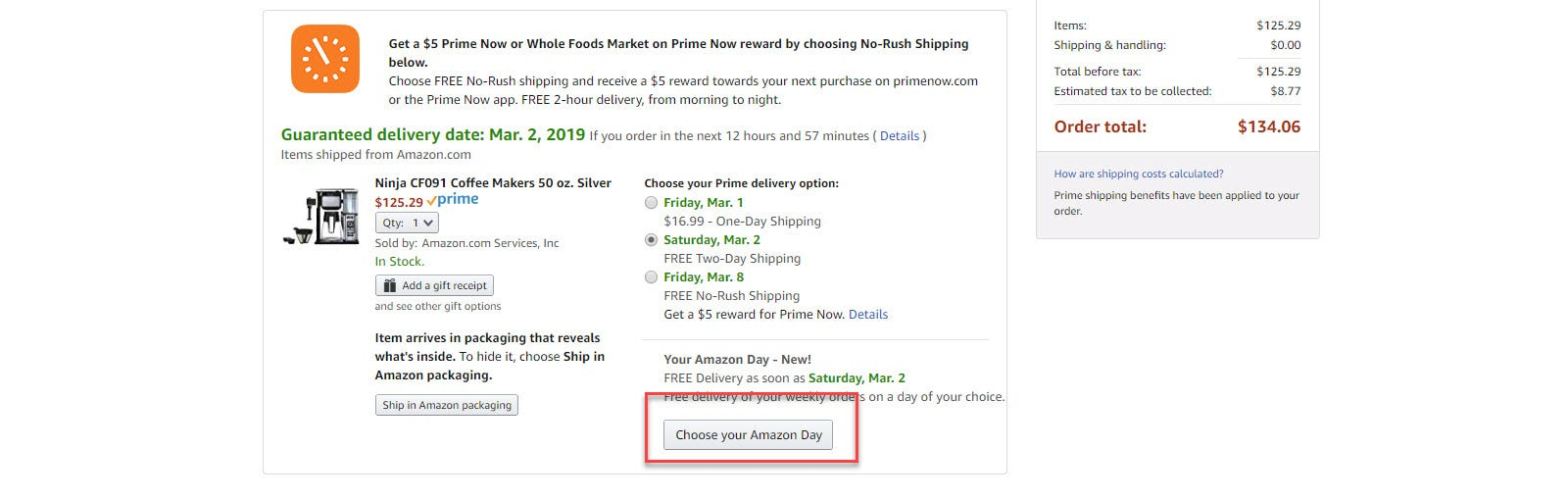 """Amazon checkout options with """"Choose another day"""" button call out"""