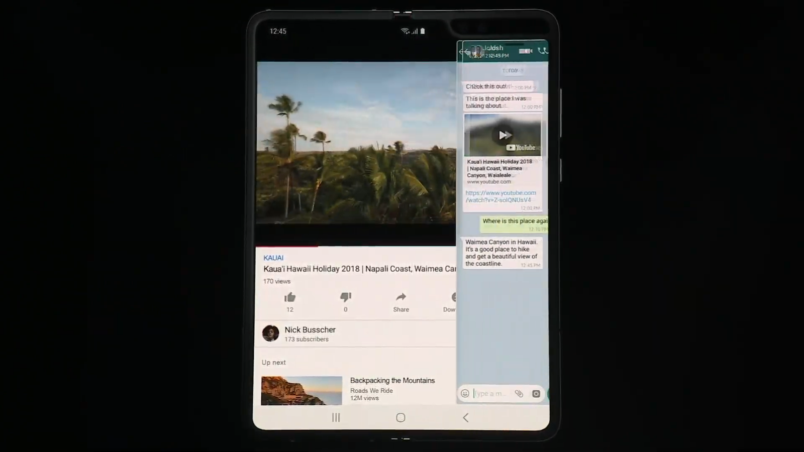 Three apps running at once on the Galaxy Fold.