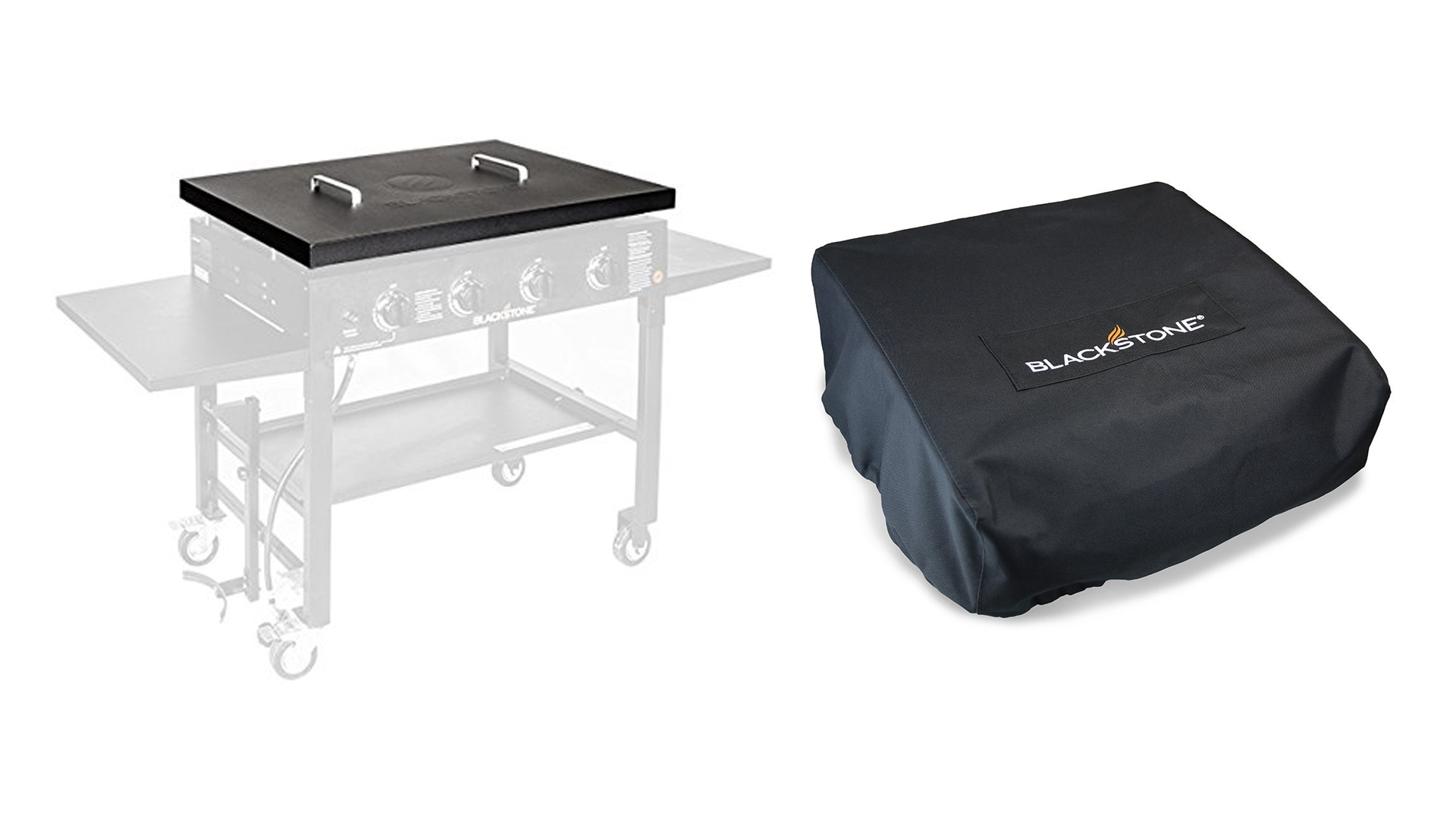 A hard griddle cover and a griddle bag
