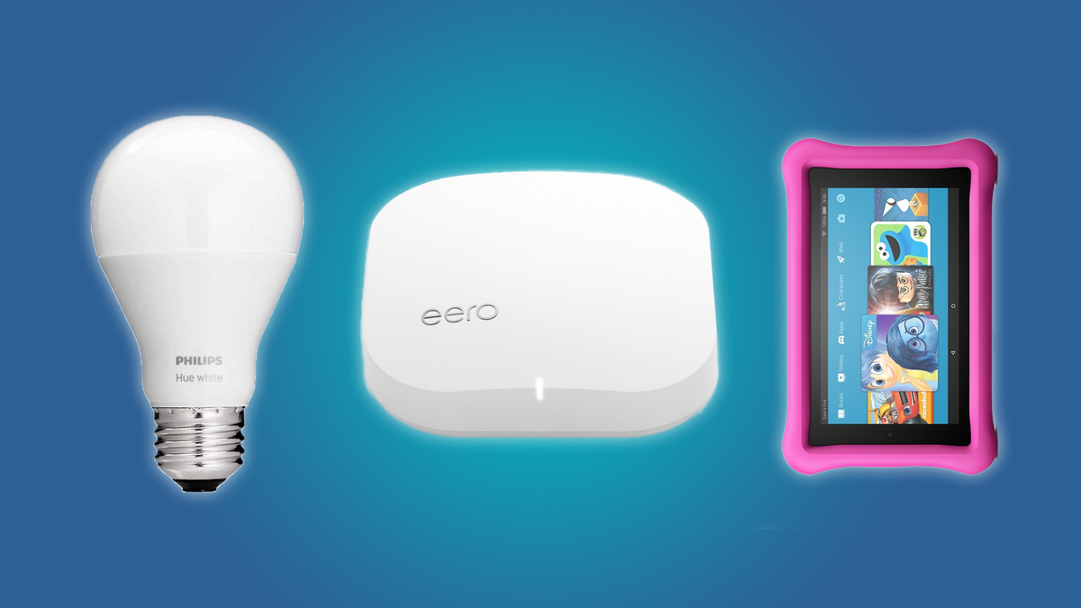 The Hue Smartbulb, Eero Wifi System, and Fire 7 Kids Tablet