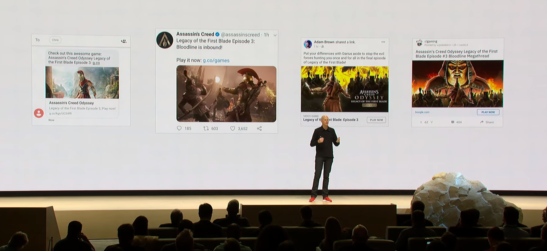 "Google shows off social network ads for the ""Stadia Store,"" indicating a la carte purchases."