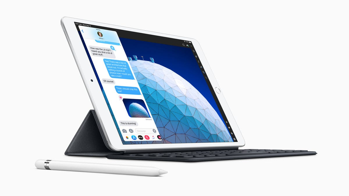 A 3rd-generation iPad Air with keyboard and Pen