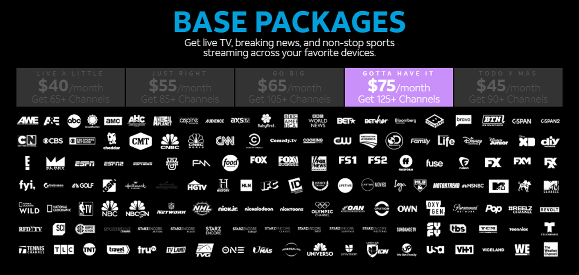 DirecTV NOW has the most channel options among live TV services.