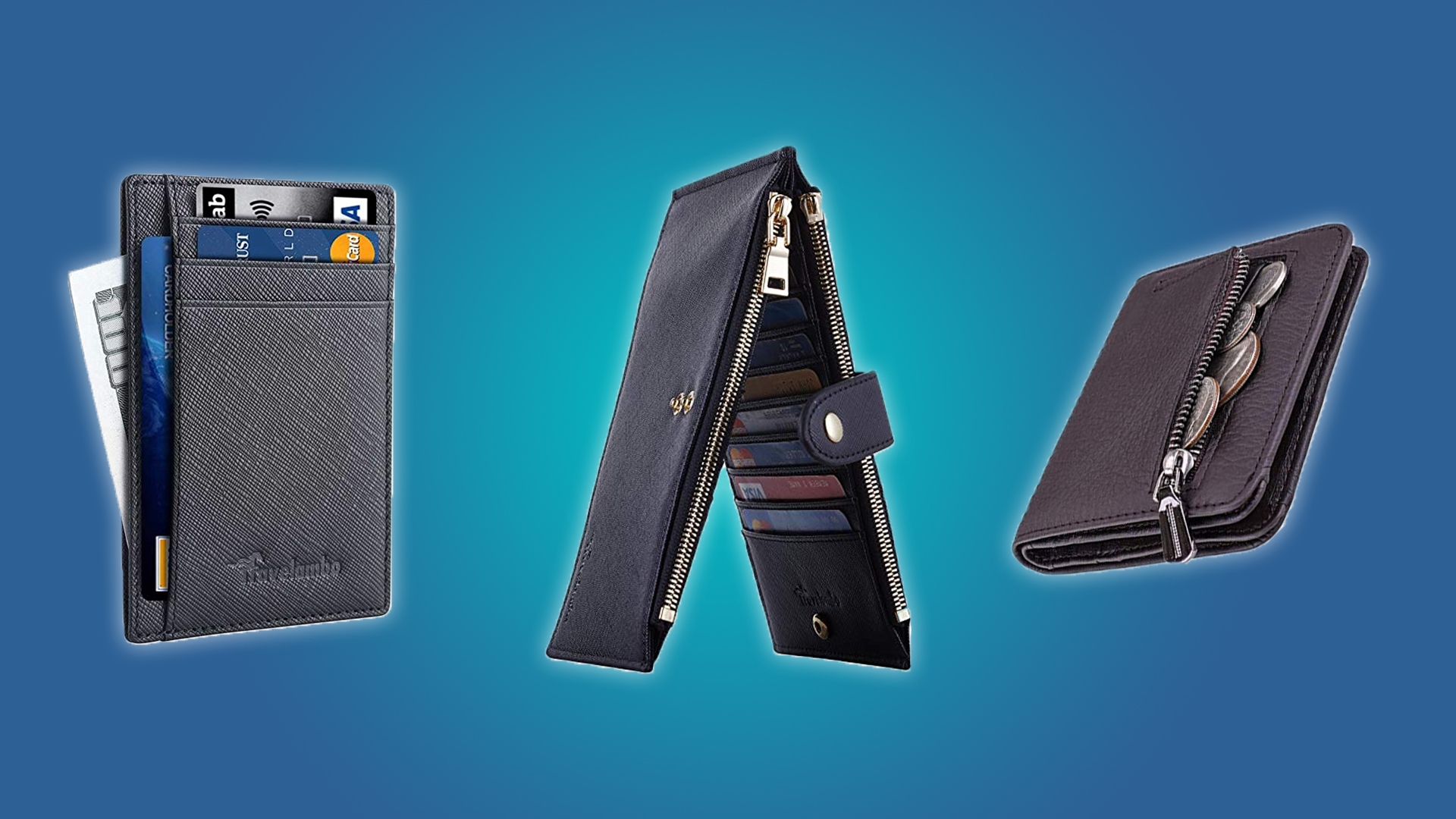 The Itslife coin purse, the Travelambo zipper wallet, and the Travelambo slim wallet