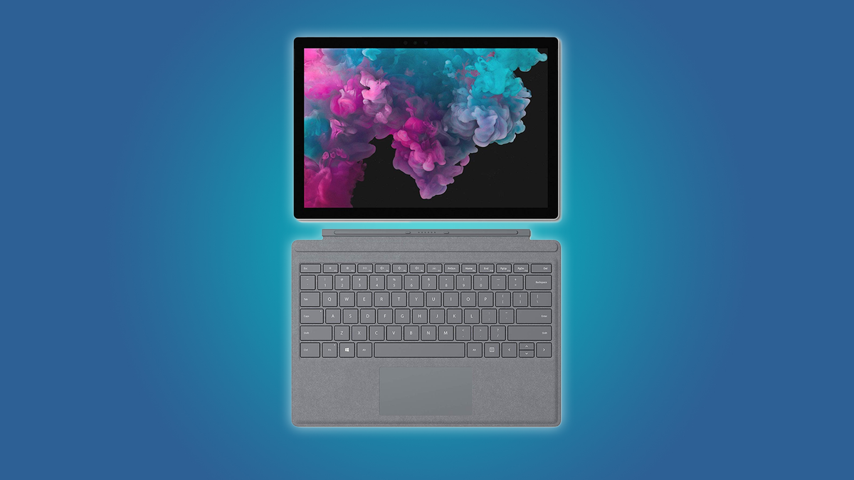 The Surface Pro 6 with the soft type cover