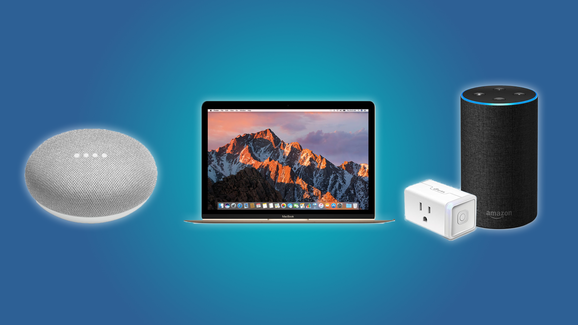 The Google Home Mini, the Macbook, and the Echo with a TP-Link Smart Plug