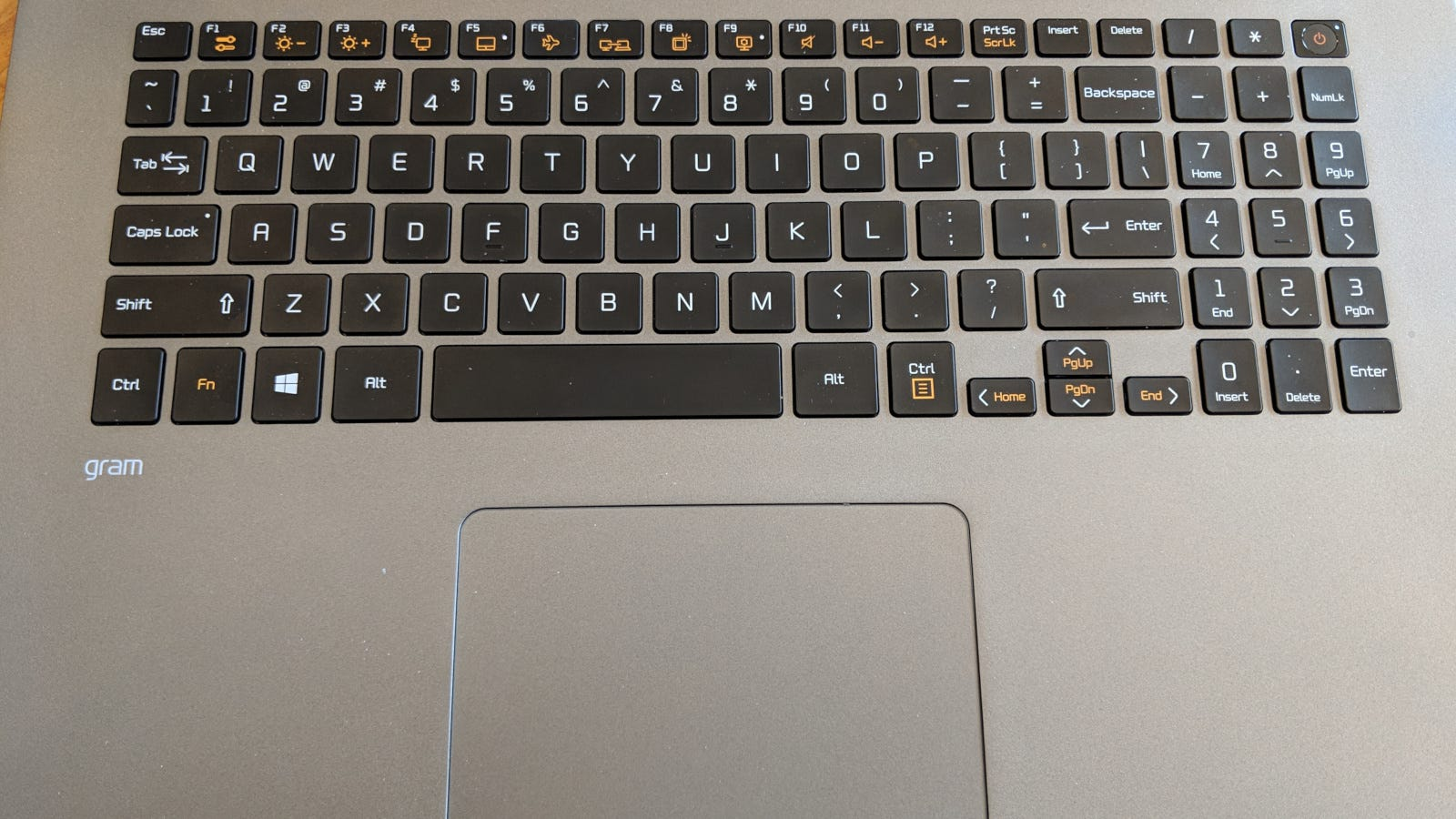 The keyboard and trackpad deck