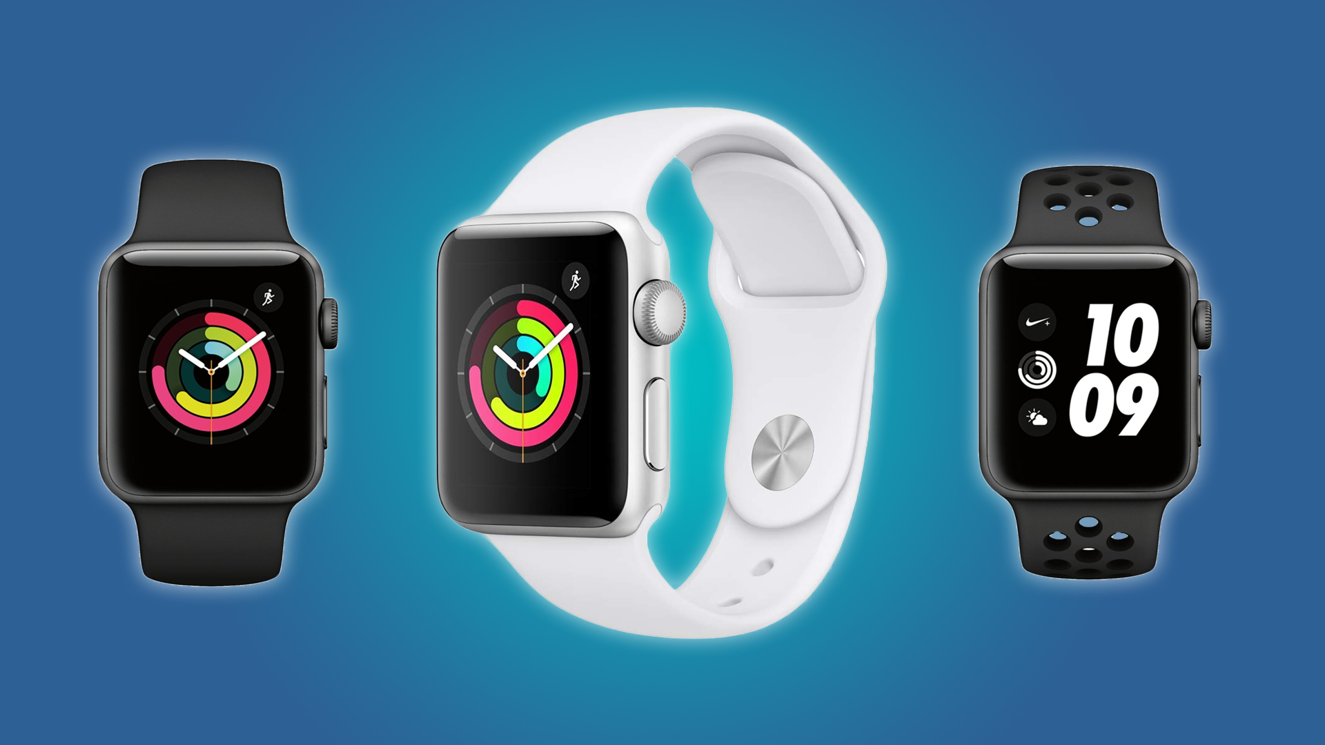 The Apple Watch Series 3 in black, white, and Nike black