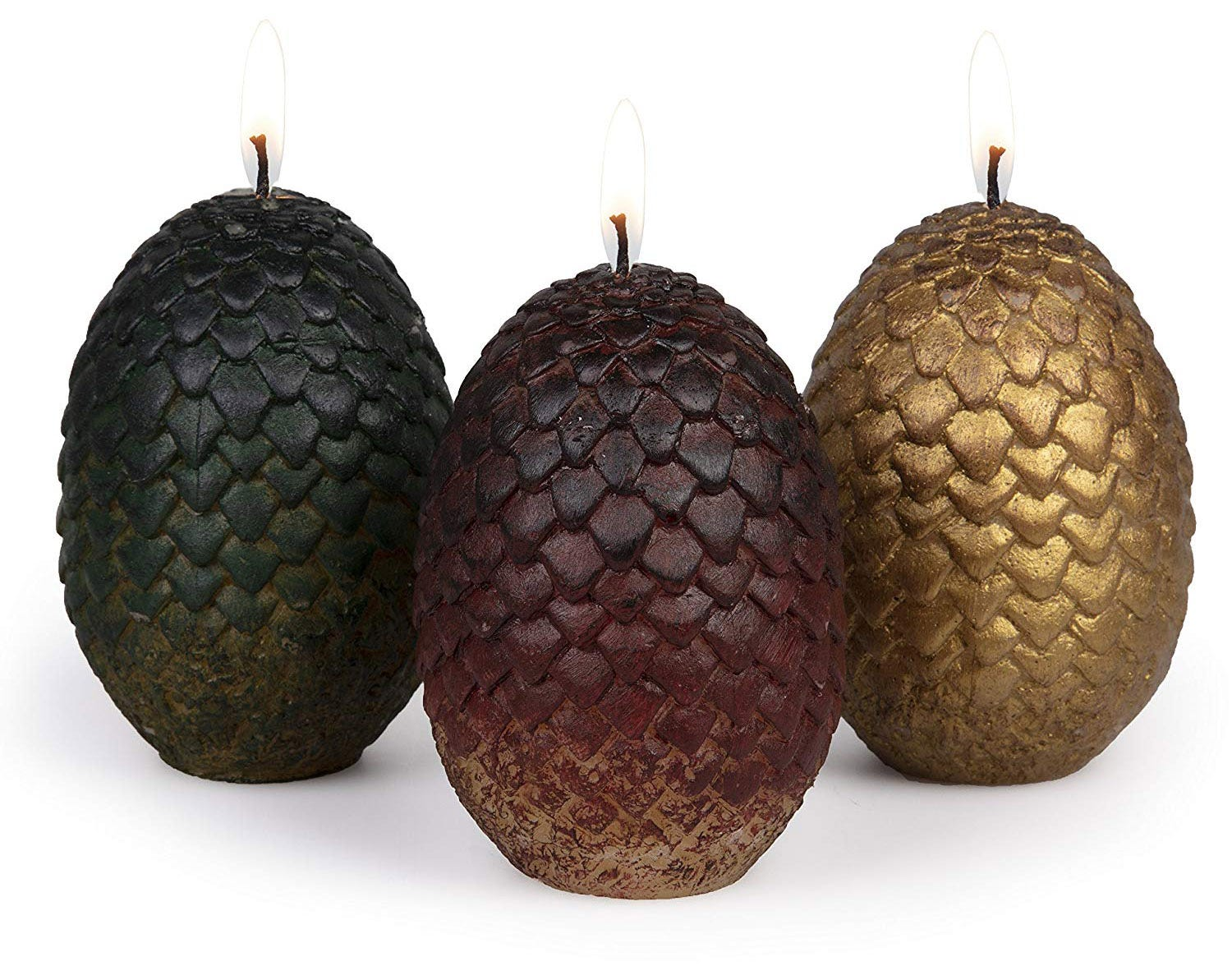 These candles are sculpted like the dragon eggs from season one.