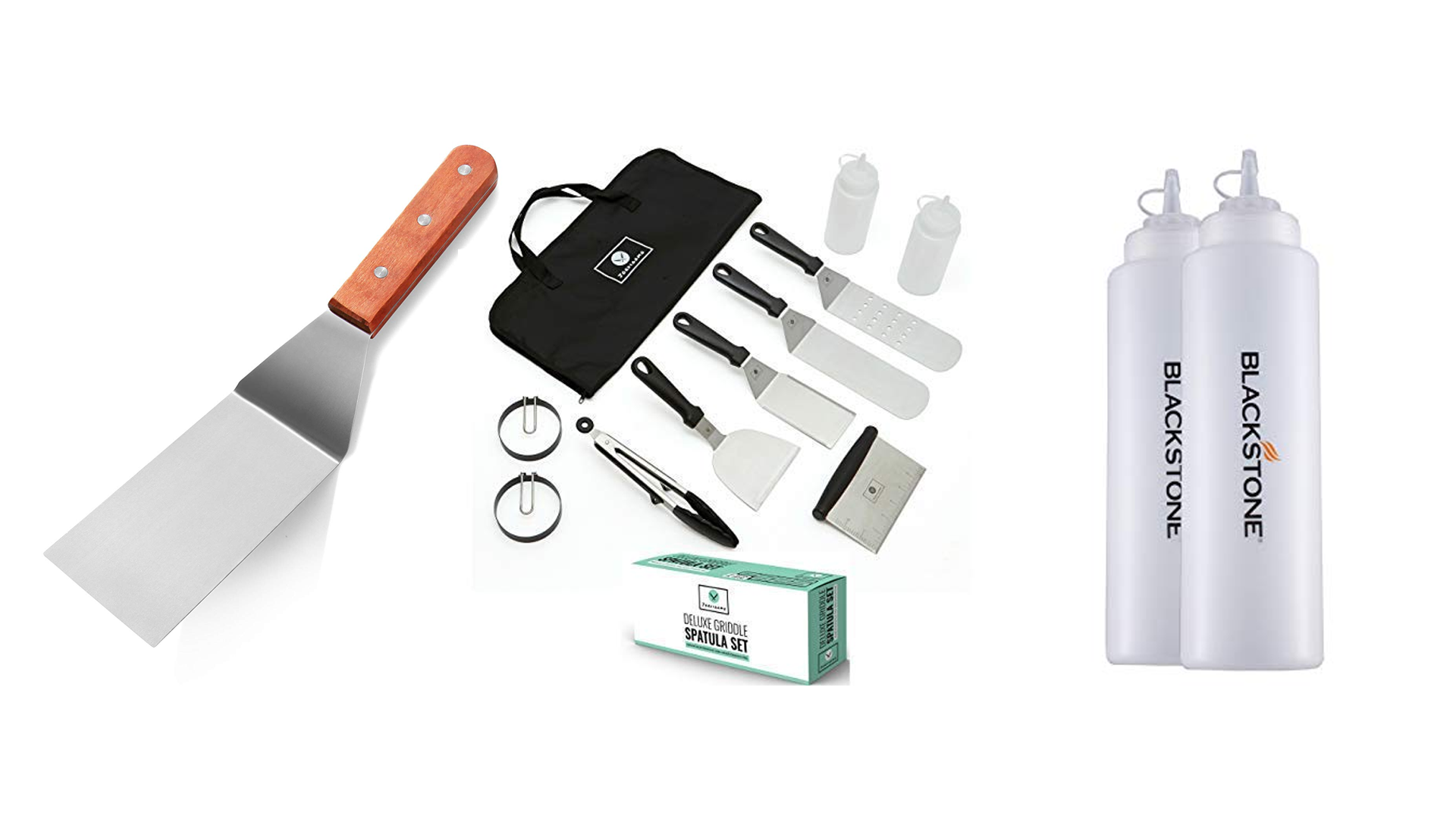 A spatula, two oil bottles, and a griddle tool kit