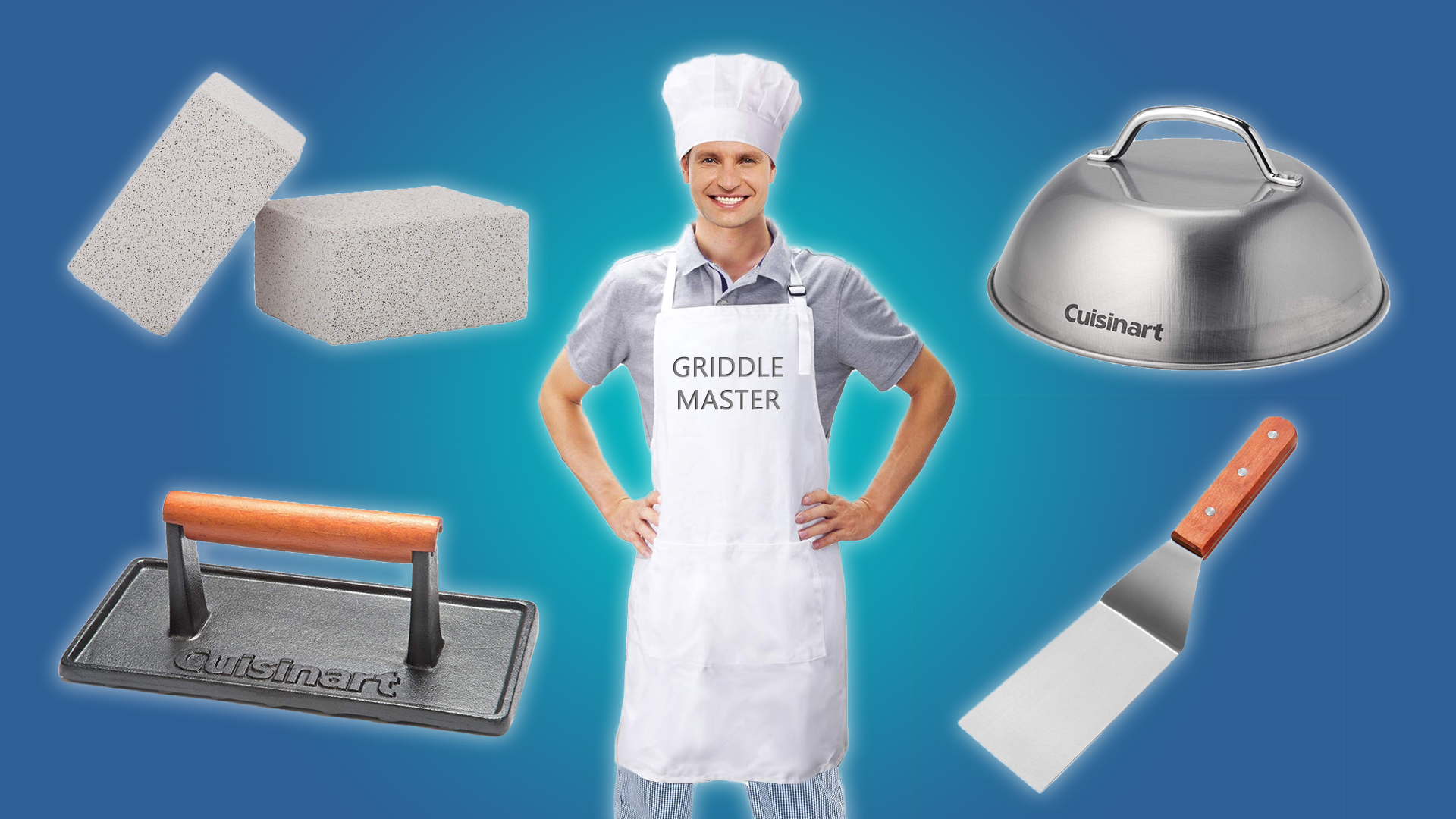 A certified griddle master with the tools of the trade