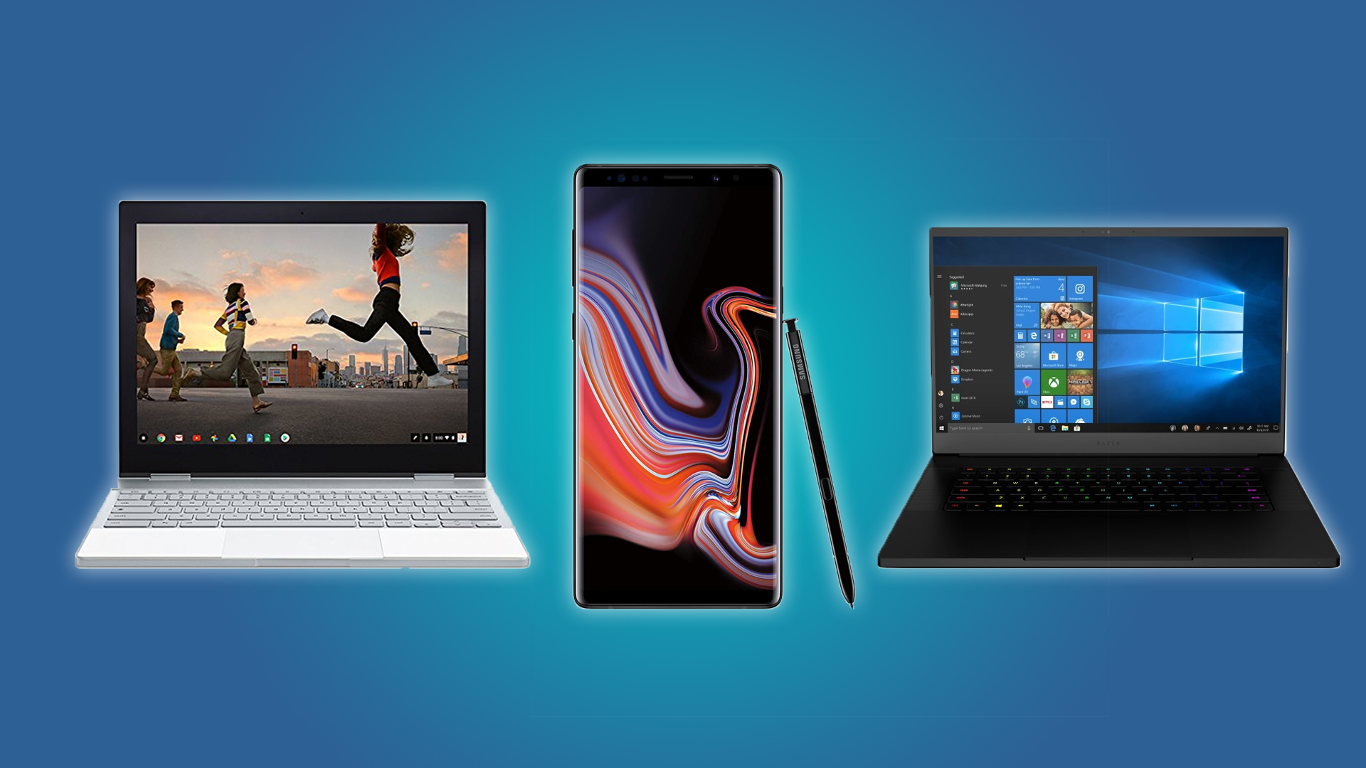 The Google Pixelbook, Galaxy Note 9 and the Razer Blade