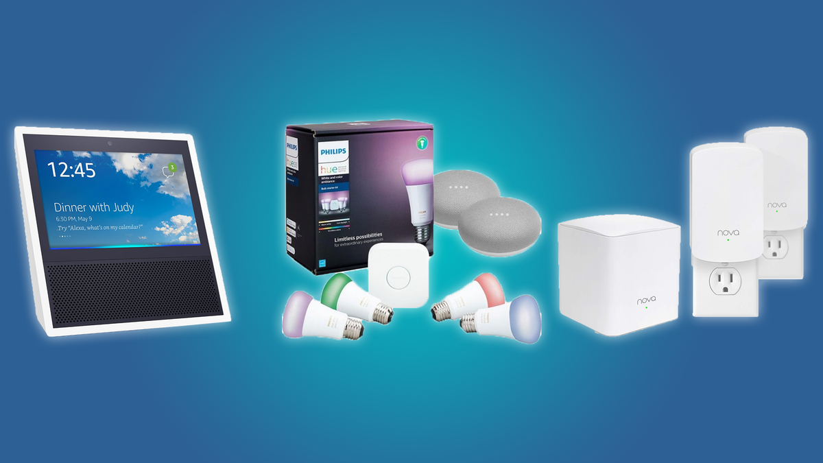 Echo Show, Philips Hue set with Google Home Minis, Nova Mesh Wi-Fi System