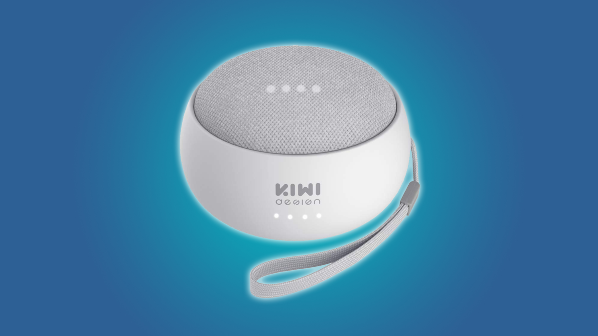 Kiwi Design's battery base makes the Home Mini work without a wall outlet.