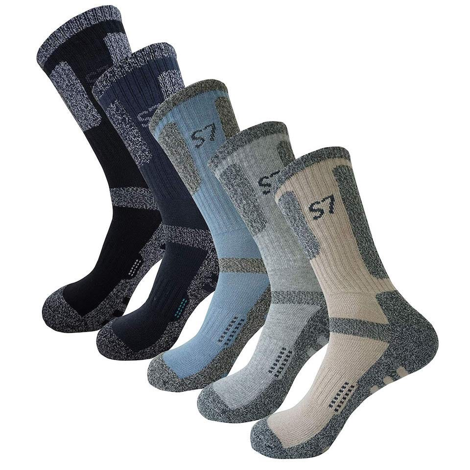 SEOULSTORY7 5pack Men's Bio Climbing DryCool Cushion Hiking/Performance Crew Socks
