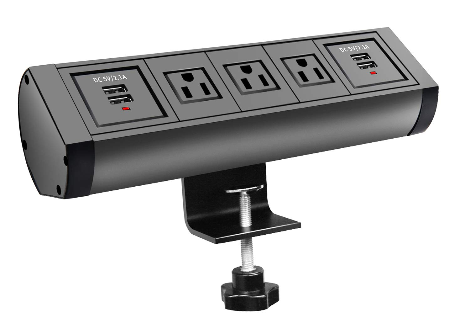 This handy design sticks three outlets and four USB chargers on your desktop.